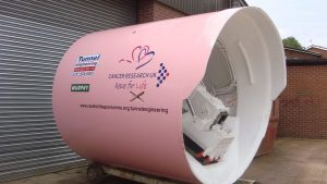 Pink excavator machine for Cancer Research Race for Life